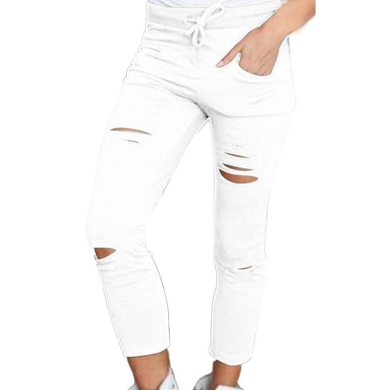 Calças femininas Mulheres leggings Buraco Rasgado Calças Stretch Fino Calças de Cordão Calças Calças Exército Verde