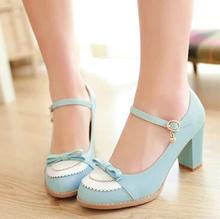 2015 Ladies Leather Platforms Lady Fashion Lolita Shoes Sexy Bow High Heel Shoes Women Pumps Women