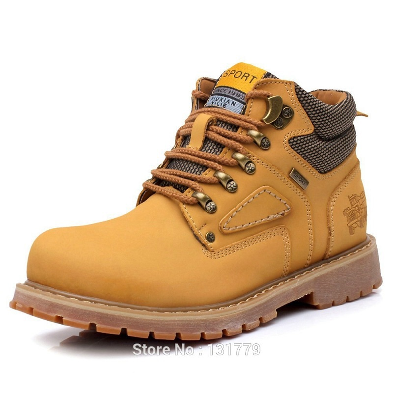 Autumn Winter Classic Men Boots High Warm Mens Leather Yellow Work Botas Masculinas Male Ankle Shoes Zapato Size 38 - 44