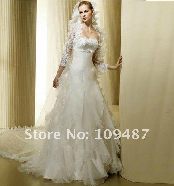 2012 Latest Wedding Dress Bridal Boutique Bra Trailing White Wedding Dress With Sleeves