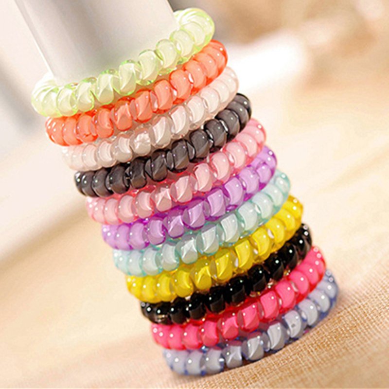 2016 new Korean fashion hair buckle women elastic jelly color telephone line hair ring rope rubber band headband beam horsetail(China (Mainland))