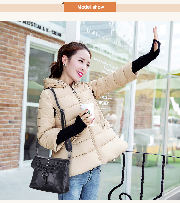 Edgy Rivet Real Leather Ladies Patchwork Bag Trendy Color-matching Splicing Stylish Sheepskin Crossbody Bag Fashion Shoulder Bag
