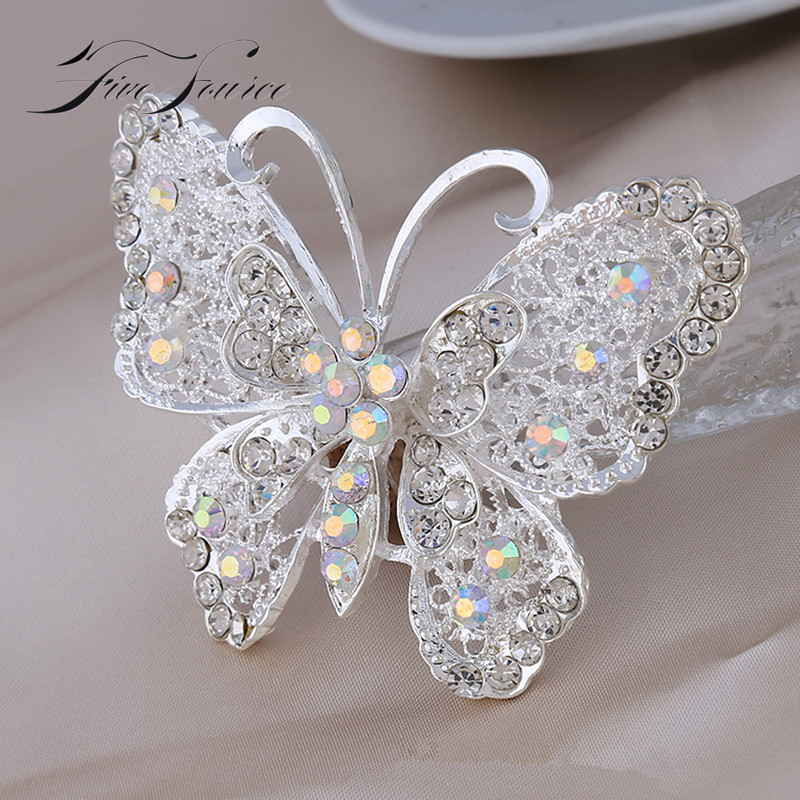 Free Shipping Hot Sell In Aliexpress Fashion Insect Brooch With Rhineshone White Women Pin Used For Tourism & Ads Sales(China (Mainland))