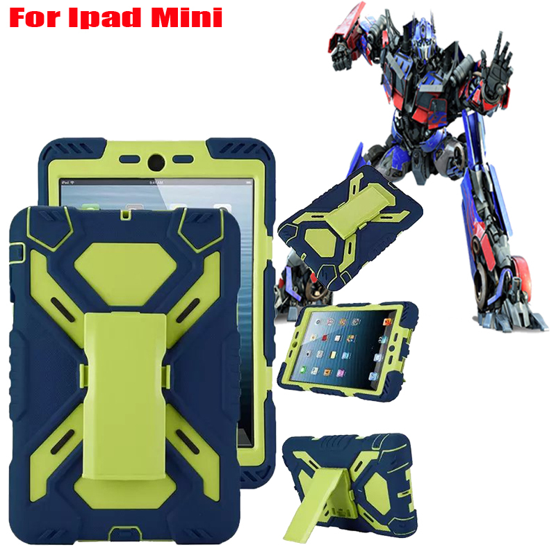 360 Rotation Stand Cool Robot Case For IPad Mini Holder Dustproof Shockproof Hybrid Silicone Rugged Case Cover Free Shipping(China (Mainland))