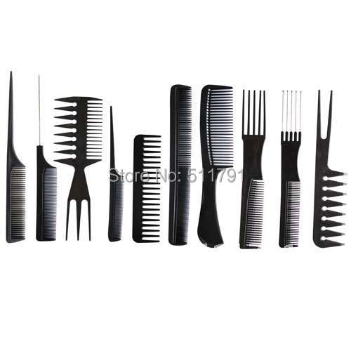China Post Air Mail Free shipping Professional Salon Hair Comb Set(10pcs=1set),good for barber.(China (Mainland))