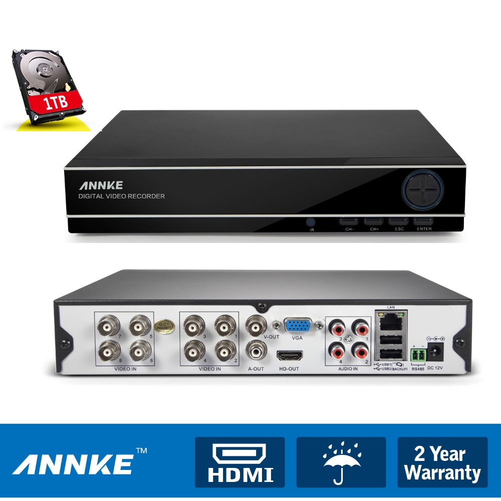 ANNKE 8CH 3 in 1 DVR HDMI 960H Digital Video Recorder DVR For Security CCTV Camera Surveillance System QR With 1TB Hard Disk(China (Mainland))