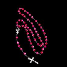 Мода новый тигровый глаз полу-pricious Христианской серебряный крест розария ожерелья мужчин и женщин ювелирные изделия верхнего качества бесплатная доставка(China (Mainland))