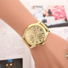 2015 Fashion Golden Belt Quartz Wrist Hour Gold Bracelet Big Dial Watches Wristwatches Men Women Watch