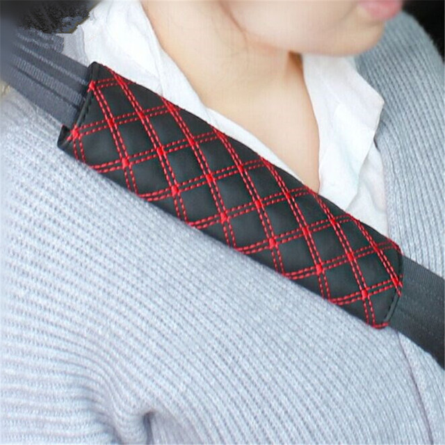 2PCS/Pair Car Safety Seat Belt Strap Soft Shoulder Pads Cover Red Faux Leather Cushion Harness Pad Protector New Arrival