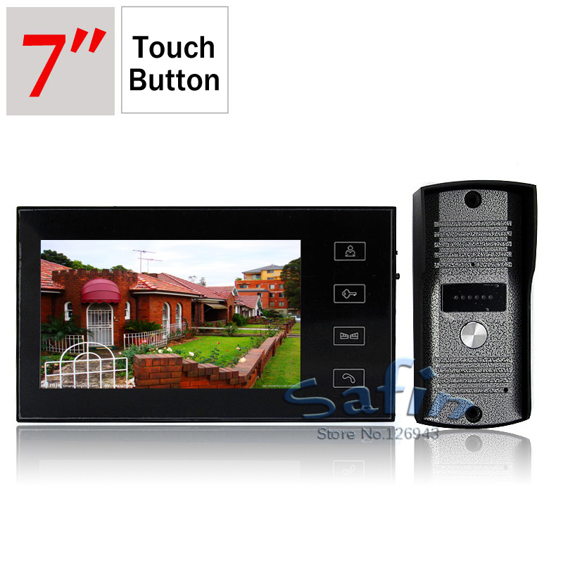 DP-766 7inch video door phone intercom system 700tvl outdoor unit camera touch button monitor(China (Mainland))