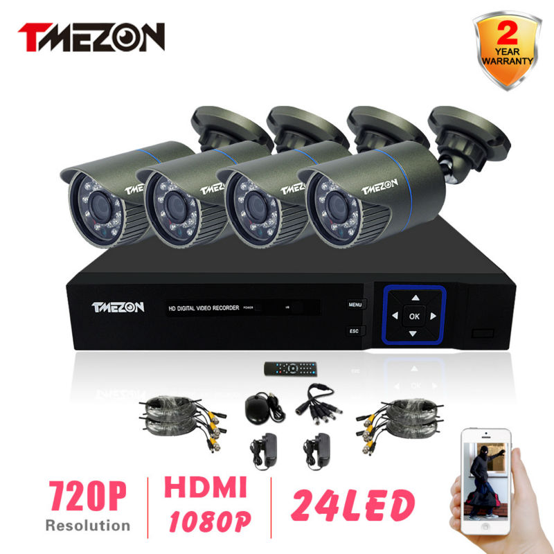 Tmezon AHD 1200TVL CCTV system 4CH FULL 720P 960H AHD DVR kit Outdoor Video surveillance security Bullet camera system<br><br>Aliexpress