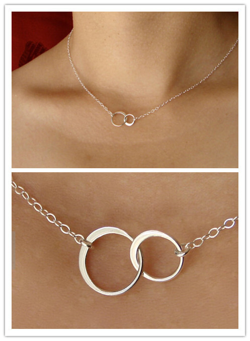 Silver Double Circle Linked Necklace Eternity Infinity Silver Minimalist Jewelry Gold Necklace Dainty Forever Necklace For Women(China (Mainland))
