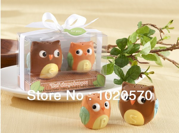Wedding favors and gifts Baby shower Owl Always Love You Ceramic Salt and Pepper Shaker Free shipping 200pcs=100sets/lot(China (Mainland))