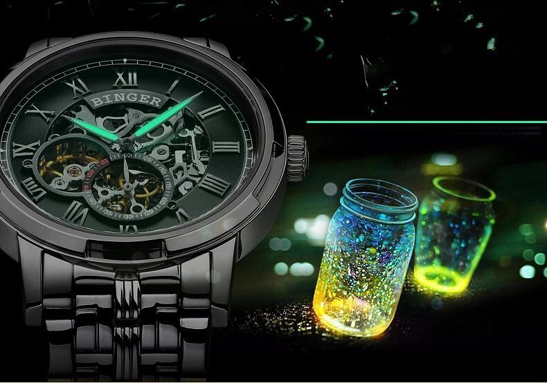 Швейцария Бингер Армия Армия часы мужчины luxury brand Кожаный Ремешок Часы Автоматическая Аналоговый Повседневная Открытый Спорт наручные часы