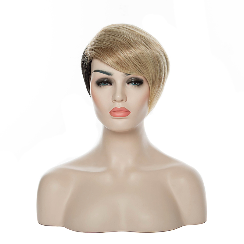 Freeshipping New Stylish Short Curly Blonde&Black Fasion Sexy Synthetic Hair Party Wig/Cosplay Wigs(China (Mainland))