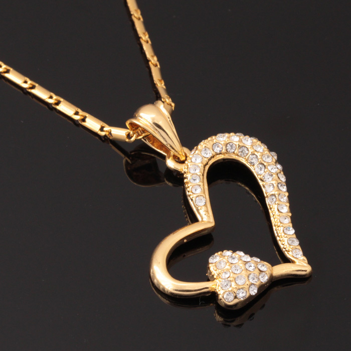 New Vintage Loving Heart Classical Floating Pendants 18K Real Gold Plated Choker Necklace Rhinestone Jewelry Wholesale P237(China (Mainland))