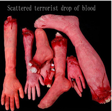 Hot Sell Severed Scary Cut Off Bloody Fake Latex Lifesize Arm Hand Finger Foot Leg Halloween Prop(China (Mainland))