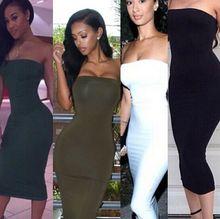 2015 New Fashion Sexy Nightclub Dress Hot Sale Strapless Dress Women's Slim Hip Package Dress White/Navy Blue/Black/Green(China (Mainland))