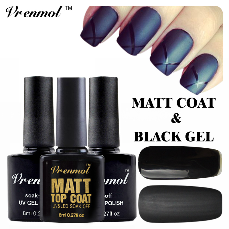 Vrenmol 2pcs Matt Matte Top Coat+Black Color Gel Polish UV Gel Nail Polish Non Clean Long Lasting Soak Off Gel Lacquer(China (Mainland))