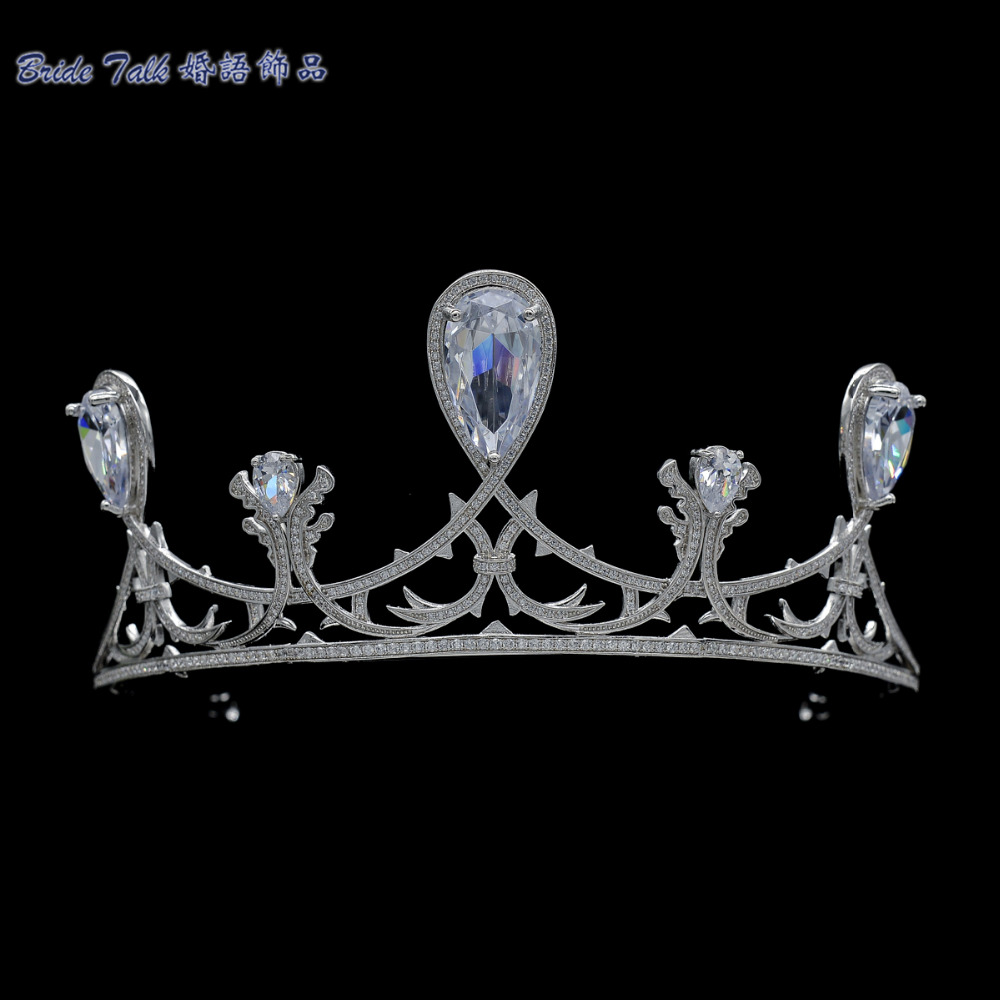 2016 New Full AAA CZ Tiara Handmade Pave Royal Crown Bridal Wedding Hair Jewelry Accessories Pageant Headpiece TR15128(China (Mainland))