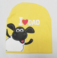 2017 new baby hat spring fall hats for children knitted newborn baby hats I love mon dad baby hats caps(China (Mainland))