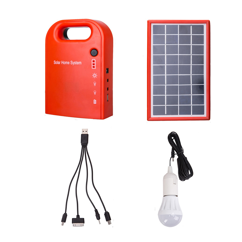 Portable Large Capacity Solar Power Bank Panel 2 LED Lamp Male Female USB Cable Battery Charger Emergency Lighting System(China (Mainland))