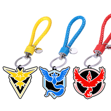 Action & Toy Figures Pokeballs Go Team Valor Mystic Instinct Keychain Phone rub Ring Pikachu Toys Cosplay Pokechu Keychain Toys