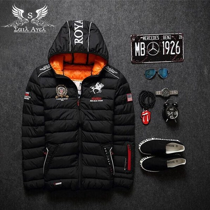 Sail Agel S HOT NEW mens winter warm down jacket brand Thick cotton embroidery men down parka coat printing black fashion hooded(China (Mainland))