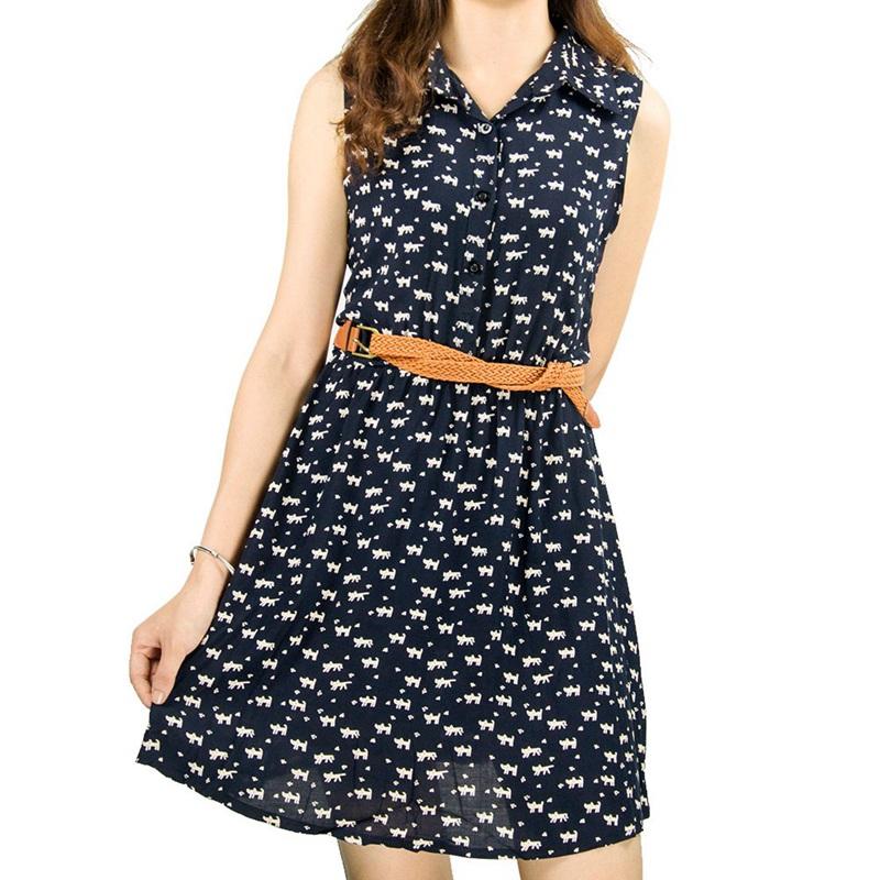 2015 women Summer dress Cat footprints pattern Show thin Shirt dress with Belt Mini Women Dress F20*E3253#M1H(China (Mainland))