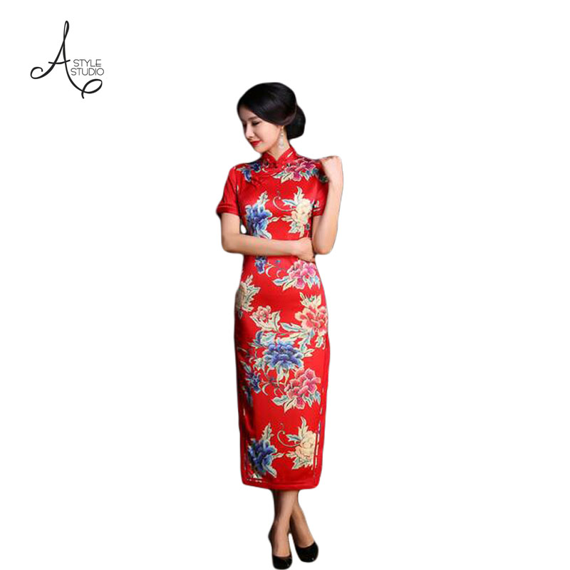Hot Sale 2016 New Satin Cheongsam Chinese Vintage Qipao Women Improved Slim Cheongsam Dress Wedding Bridesmaid Dresses FMS083(China (Mainland))
