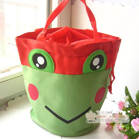 Cartoon Cute Frog Waterproof Lunch Bag Hand Tote Hand Bag Free Shipping(China (Mainland))