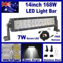 168W 14″ Osram 5D Lens LED Light Bar Work Driving Car Truck 4×4 Offroad Fog Lamp Spot + Flood Combo Beam Stainless Steel