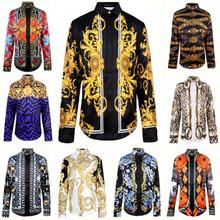 new fashion wave of men floral print colour mixture luxury casual Harajuku shirts long-sleeved patchwork men's medusa shirts(China (Mainland))