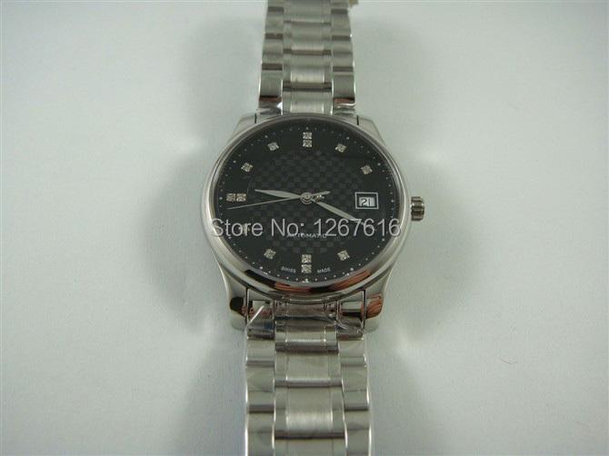 The new 2014 high quality fashion men automatic mechanical watch black dial steel bracelet silver diamond bezel calendar!(China (Mainland))