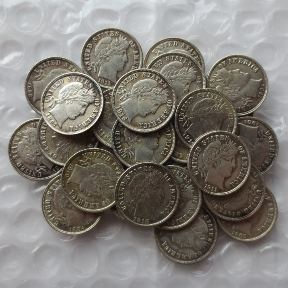 Wholesale Replica Mixed Date/Sign 68Pcs <1892-1916>-P,O,S Barber Ten Cents(Dimes) Silver Plated Manufacturing Copy Coins(China (Mainland))