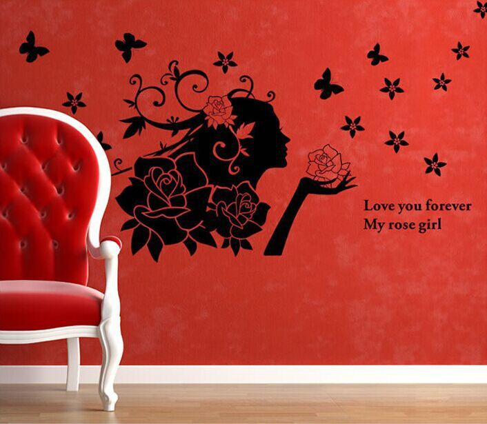 Romantic diy removable vinyl wall stickers black rose girl for Black and white rose wall mural