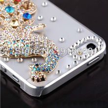 1PC Bulk Elegant Rhinestone Luxury Diamond Crystal Bling Colorful Peacock 4g 4s Case Cover for iphone 4s phone(China (Mainland))
