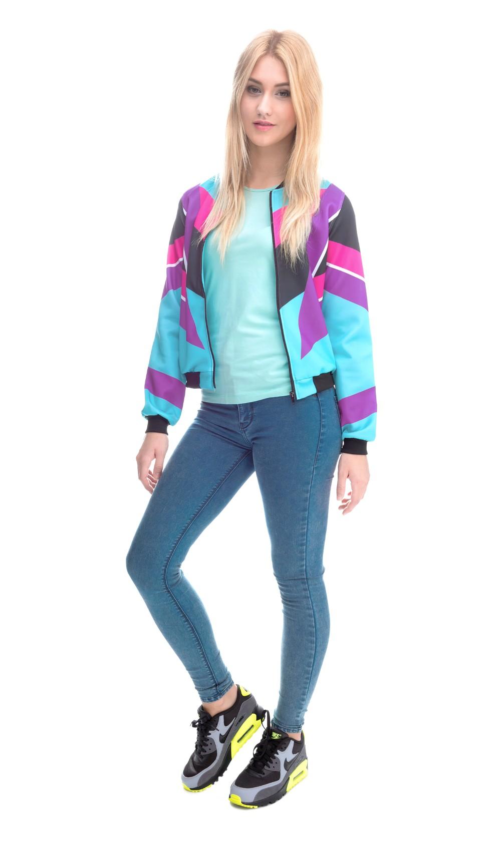 2016 Mix город 3D печать весна осень пальто женщин куртки 90 s дизайн мода свободного покроя куртки бомбардировщика тонкий марка пиджаки и пальто