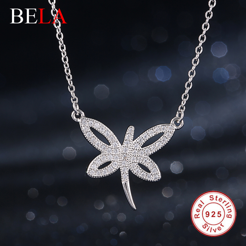 Solid 925 Sterling Silver Fine Jewelry Austrian Crystal Butterfly Pendant Necklace for Women Girls Wedding Jewelry Gift(China (Mainland))