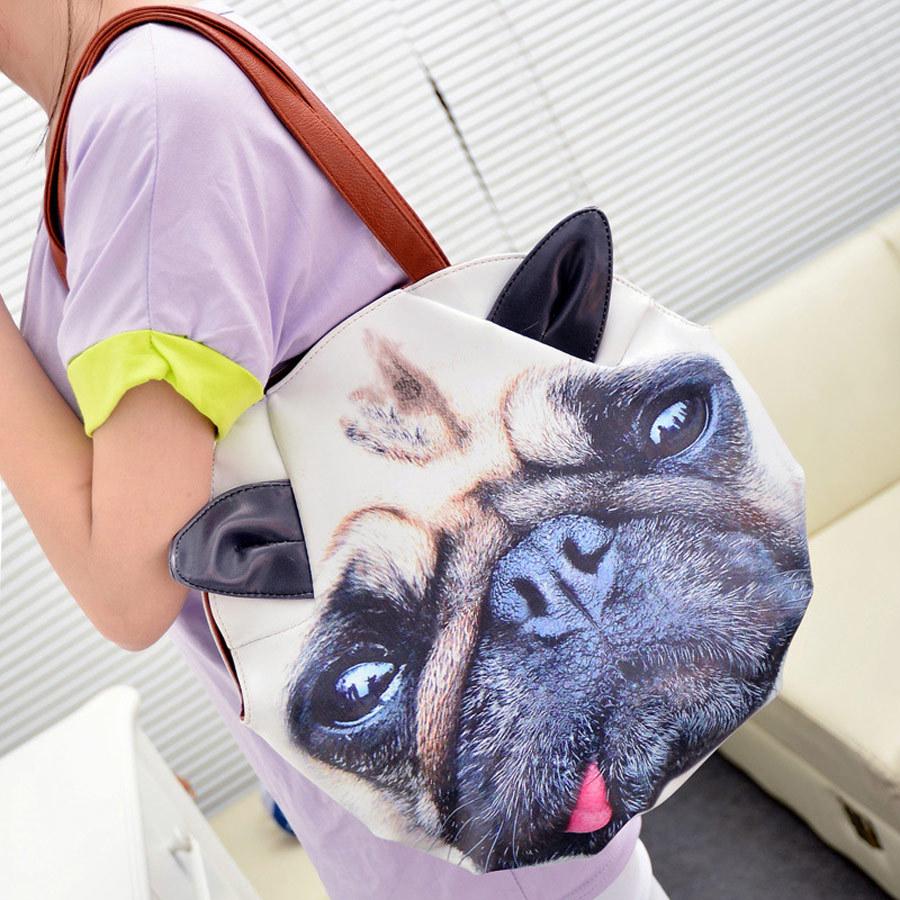 New Fashion handbags shoulder bag personality big cat face painting big lazy dog pack PU fashion bags(China (Mainland))
