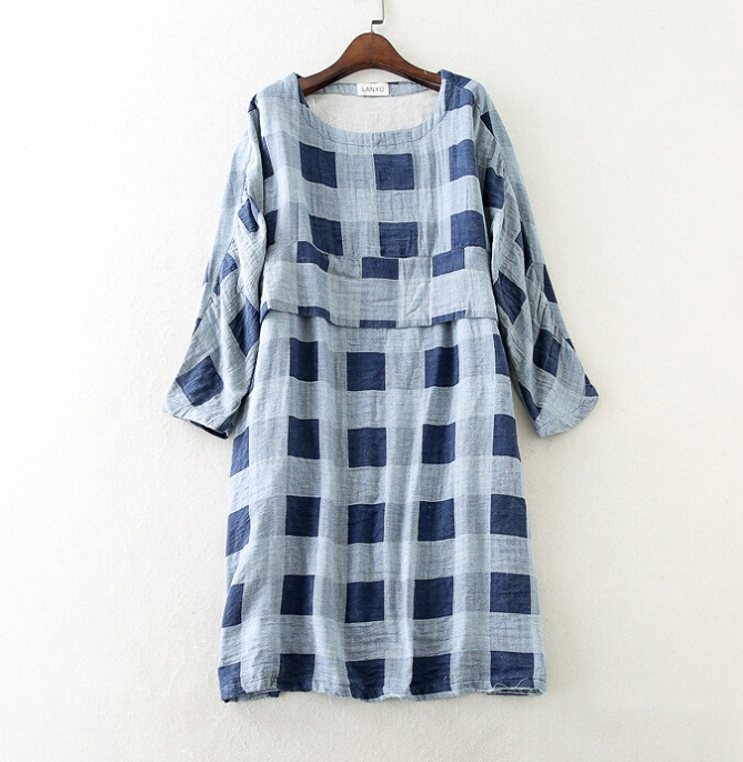 Plus Size 2015 Brand Lady's Fashion Plaid Dress Half Sleeve Cotton A-line Dress High Quality 130 Bust Size With Two Pocket T1407(China (Mainland))