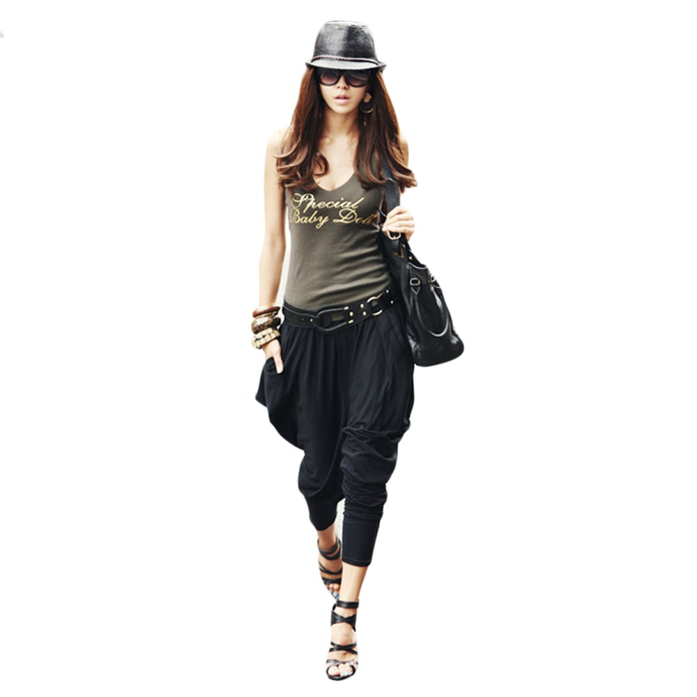 Luxury Women39s Harem Pants Large Pocket Denim Pants Black Hip Hop Pants