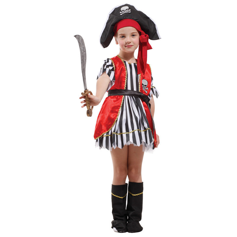 Factory Direct Sale Gift Tower Girls Pirates Sweet Heart Swashbuckler Performance Dress Up Child Fantasia Halloween Costume(China (Mainland))