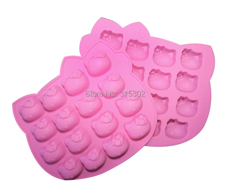 1 pcs 16 even Hello Kitty Shape 3D silicone Cake Mold, Fondant Cake Mould, Jello, Soap, Sugar, Candy, Birthday Cake Mould(China (Mainland))
