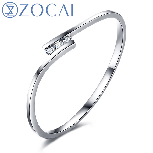 ZOCAI Natural Real 0.02 CT Certified H / SI Diamond  Wedding Band Ring 18K White / Rose Gold (Au750)  W00130