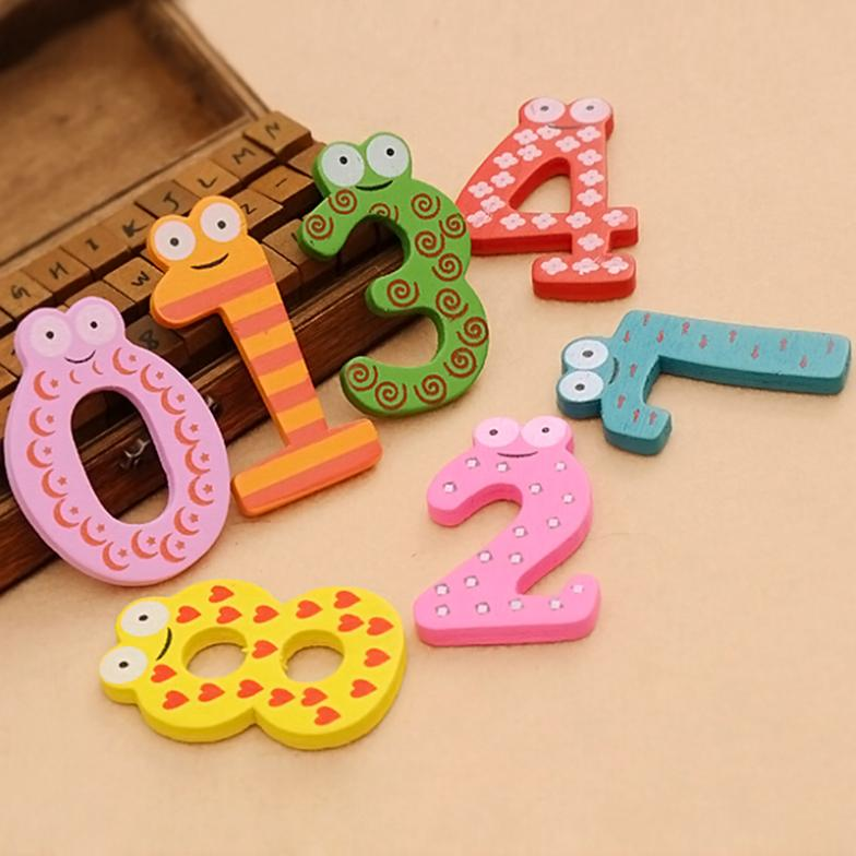 Colorful DIY Wooden Cartoon 0-9 Refrigerator Wall Stickers Alphabet Magnets ZH054(China (Mainland))