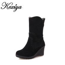 2015 tamaño Grande 30-52 moda invierno mujeres zapatos flock solid Cuñas tacones rojos calientes Slip-On botas cortas nieve HQW-199(China (Mainland))