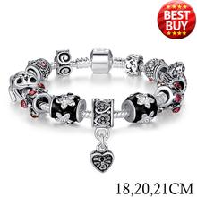 2015 Russia Belarus Popular 925 Silver Heart Charm Fit Pandora Bracelet & Bangle With Glass Beads Jewelry PA1034(China (Mainland))