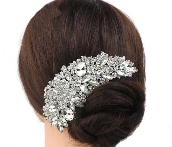 2015 New Designer Bridal Crystals Comb floral jewellery wedding hair comb For Women, Grand Wedding Jewelry Hair Accessories(China (Mainland))