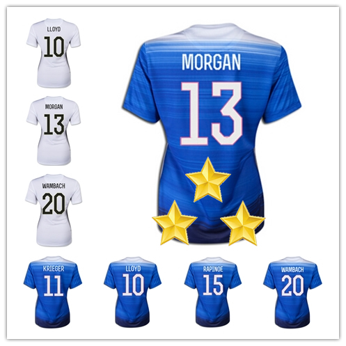 Three Stars 2015 Canada Women World Cup Champion Soccer Jersey Blue White Solo Alex MORGAN LLOYD Wambach lady Football Shirts(China (Mainland))